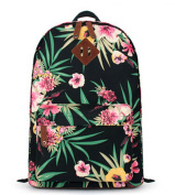 Fresh Floral Pattern School Bag Womens Girls Canvas Travel Rucksack