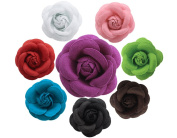 BONAMART ® 8 pcs Woman Lady Girl Brooch Corsage Hair Clips Accessories Camellia Flower For Wedding Party