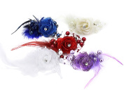 BONAMART ® 5 pcs Woman Lady Girl Brooch Corsage Hair Clips Accessories Feather Rose Flower For Wedding Party