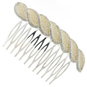 Studded Braided Pleat Ivory Pearl Bridal Hair Comb Clip