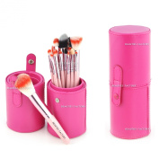 Beauties Factory Empty Cosmetic Brush Bag for Makeup Brushes Outdoor Artist DIY (Gaga Pink Leather Column