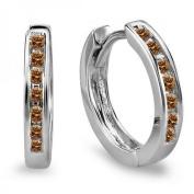 0.20 Carat (ctw) 10k White Gold Small Huggie Hoop Earrings 11 mm diameter