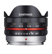 Samyang 7.5 mm Fisheye F3.5 Manual Focus Lens for Micro 4/3 - Black