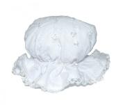 Gorgeous Broderie Anglais Baby Girls Elasticated White Summer Sun Hat Mop Cap 3-6 Months