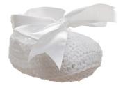 Paisley of London, Baby Girls White Christening Shoes, Christening Gifts, Crochet Shoes, Bow Shoes