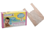 5 X BOX 200 DISPOSABLE BABY PERFUMED FRAGRANCED HYGENIC NAPPY BAGS SACKS TIE HANDLE