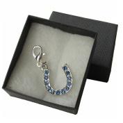 Handmade Gift for Bride - Something Blue - Blue Encrusted Silver Horseshoe Clip on Charm for Garter