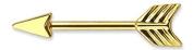 Gekko Body Jewellery Surgical Steel Gold Arrow Nipple Bar - 1.6mm x 12mm