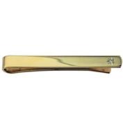 Hard Gold plated 6x55mm star set CZ Tie Slide