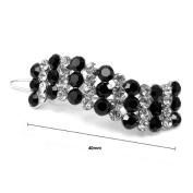Glamorousky Elegant Barrette with Black and Silver. Element Crystal
