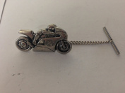 P2 Motorcycle No.2 Tack Tie Pin With Chain english pewter handmade in sheffield