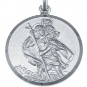 """Mens Large Reversible Sterling Silver St Christopher Pendant with 20"""" Chain & Gift Box - 24mm"""