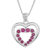 Ornami Sterling Silver Ruby and Diamond Heart Pendant with Daughter Message and Chain of 46cm