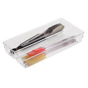 InterDesign Linus Twin Kitchen Drawer Organiser for Silverware, Spatulas, Gadgets - 15cm x 30cm x 5.1cm , Clear