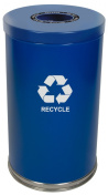 """Witt Industries 18RTBL-1H Steel 132.5l 1 Opening Recycling Container with 1 Plastic Liner, Legend """"Recycle"""", Round, 46cm Diameter x 80cm Height, Blue"""