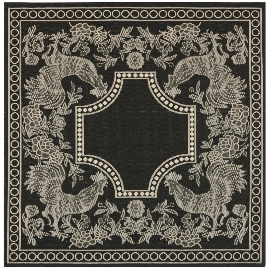 1.8m Square, Black Sand Safavieh Courtyard Collection CY33053908 Black