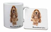 Gold Cocker Spaniel-With Love Mug and Table Coaster, Ref:AD-SC72uMC