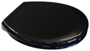 EuroShowers BLACK Toilet Seat - Soft Close with Quick Release Hinges - Suitable for Standard / Top Fix / Blind Hole / Back to Wall / Close Coupled Pans