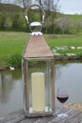 TOPSHAM - Medium Stainless Steel Pillar Candle Lantern - Natural Wooden Top and Rope Handle - Garden Patio Holder Table Wedding - Indoor Outdoor - 18 x 18 x 60cm