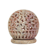 Beautiful Handmade Engraved Soapstone Tealight Votive Candle Holder 8.8 Cm With Floral Cut-out Design