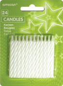 Amscan 24-Piece Stripe Candles Party Accessory, White