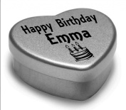 Happy Birthday Emma Mini Heart Tin Gift Present For Emma WIth Chocolates. Silver Heart Tin. Fits Beautifully in the Palm of Your Hand. Great Birthday Present To Show Somebody You are Thinking of Them.