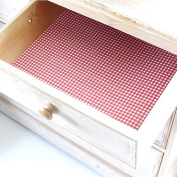 Wipe Clean Red Gingham design drawer & shelf liners, ideal for kitchen drawers & shelves. Made in Suffolk, England.