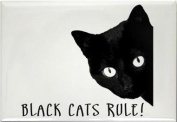 A funny fridge magnet with a picture of a black cat with the wording Black cats rule ! from our unique animal gift range. An original Birthday or Christmas stocking filler gift idea for a Cat lover !