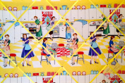 Large Michael Miller Home Economics 50's Kitch Ladies Kitchen Hand Crafted Fabric Notice / Pin / Memo Board