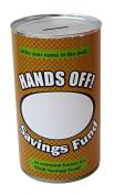 Personalised 'Hands Off' Savings Tin - (Large) Personalised Money Box