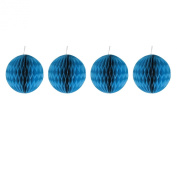 Pack of Four Blue 10cm Honeycomb Retro Pom Pom Paper Christmas Bauble Decorations