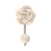 Vintage Rose Ceramic Single Hook Cream