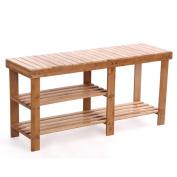 2 Tier Natural 100% Bamboo Shoe Rack Bench Storage Organiser Holder