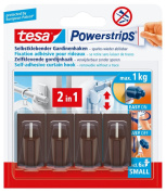 tesa 58047 Powerstrips Net Curtain Hooks, Brown, Self Adhesive and Removable