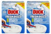 2 x Toilet Duck Fresh Discs Marine 6 Shot Toilet Gel Cleaner & Applicator