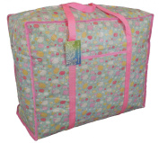 Large blue and pink storage bag with pocket. Sheep on clouds design. Toys, washing and laundry bag