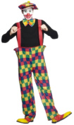 Smiffy's Adult Men's Hooped Clown Costume, trousers, Hat and Bow-Tie, Funny Side, Serious Fun, Size L, 96312