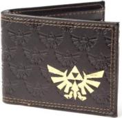ZELDA Bifold Wallet with Embossed Link and Gold Foil Logos, Dark Brown