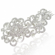 EVER FAITH Wedding Jewellery Silver-Tone Flower Hair Comb Clear Austrian Crystals - 14cm A08554-1