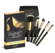 BEST Travel Makeup Brush Kit from Be You! BEAUTIFULLY - Professional Makeup Artist Recommended Travel Kit - 5 Incredible Brushes Plus Compact Mirror Case - VEGAN & CRUELTY-FREE - Guaranteed