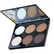 U Can Be 6 Colour Contour Face Powder Makeup Blush Brownzer Concealer Palette with Mirror,#1