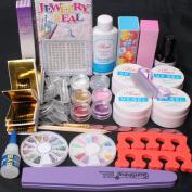 Ships From CA, USA 20 in 1 Nail Art Pink Clear White UV Gel Kit UV Brush Buffer Guide Toe Seperator Glitter Powders Tool Nail Tips Glue DIY Set