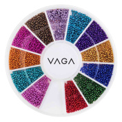 Premium Manicure Nail Art Decorations Wheel With Beads Pearls Caviar In 12 Different Colours By VAGA®
