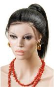 Sunwell New Fashion Real Design Women Ladies 25cm - 70cm 100% Indian Human Hair Yaki Straight Full Lace Wigs 1# Jet Black
