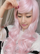 SMILE Wig Harajuku 65Cm women's /Lady Fashion Cosplay Anime Young Curly Big Wave Lace Front Long Synthetic Party Pink Lolita
