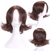 SMILE Wig 30 Cm Cosplay Anime Brown Not Lace Full Short Curly Synthetic Hair Party