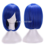 SMILE Wig 32 Cm Harajuku Cosplay Anime Young Heat Resistant Synthetic Hair Dark Blue Party Synthetic With Bangs