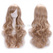 SMILE Wig 70 Cm Harajuku Anime Cosplay Young Women Ladies Sexy Long Full Curly Heat Resistant Synthetic Hair Blonde For Party