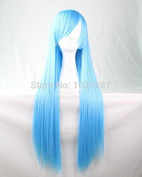 SMILE Wig Fashion Natural Straight Long Straight Synthetic Hair Lady's Light Blue Beautiful Lolita Anime Costume Harajuku