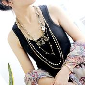 Lvxuan Vintage Jewellery Antique Gold Colour Leaf Owl Imitation Pearl Multi-layer Necklaces Long Necklace Women